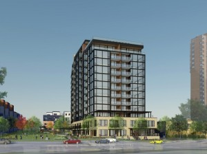 Rendering of a 13-story design for 3100 W. Lake St. Image courtesy of ESG Architects.