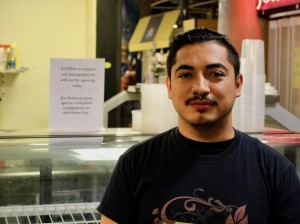 Ami Cruz, manager of Fresco's Pasta Bar, said his business was closed Thursday in solidarity with immigrants. Photo by Nate Gotlieb