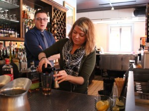 Lindsay Forslin and David Christensen, two of the cocktail creators at Café Maude. Photo by Michelle Bruch
