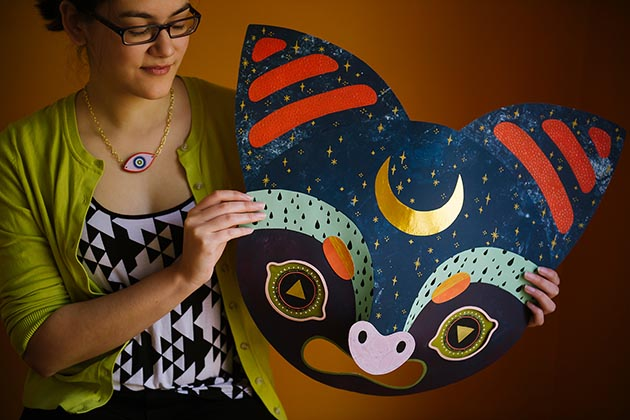 Camille Chew's handcrafted masks will be a featured item when the new artists shop opens. Submitted image