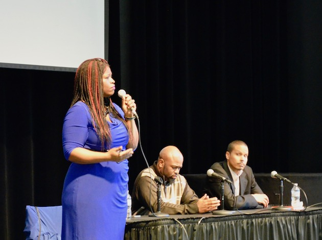 Nekima Levy-Pounds talks about her experience of growing up in Los Angeles during Minneapolis Public Schools' Black Teen Summit on Feb. 22 at Coffman Memorial Union. Photo by Nate Gotlieb