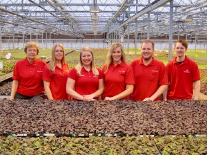 From left to right: Nola, Laura, Julie, Nolin, Eric and Nik Wagner are among the family members involved in Wagner Greenhouses. Photo courtesy Wagner Greenhouses
