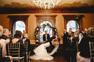 A wedding ceremony at the Semple Mansion. Photo courtesy Janelle Elise Photography