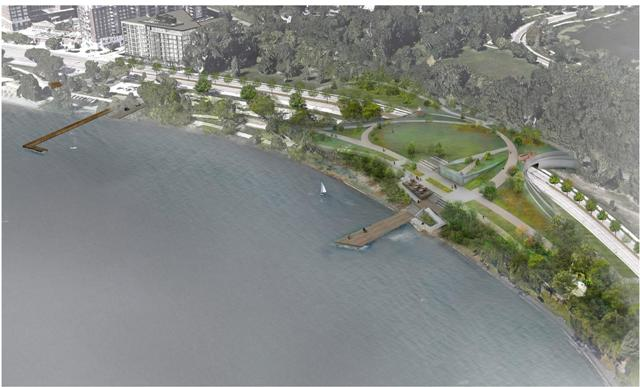 "This rendering shows a hypothetical green ""lid"" over West Lake Street connecting Lakes Bde Maka Ska (Calhoun) to Lake of the Isles. A new boat launch and dock is pictured at left. Image courtesy of Minneapolis Park and Recreation Board"