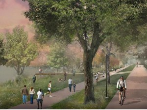 Illustration of lower East Harriet Pkwy adapted for pedestrians. Image courtesy of MPRB