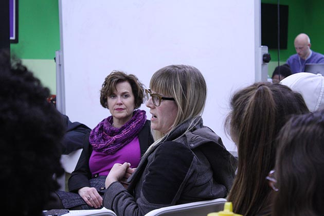 As Mayor Betsy Hodges looked on, Katie Gjertson of the Minnesota Nurses Association expressed her support for a citywide minimum wage ordinance at a Feb. 15 listening session on the North Side. Photo by Dylan Thomas