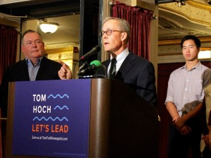 Tom Hoch kicked off his campaign for Minneapolis mayor at the State Theatre Tuesday. Photo by Eric Best