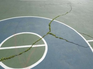 "Repairing cracks at a Harrison Park court would be considered a ""low need"" under the Park Board's rehabilitation program. Photo courtesy of the Minneapolis Park and Recreation Board"