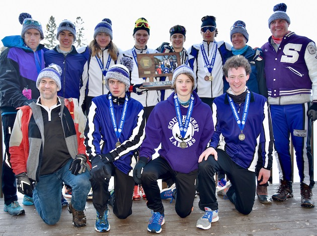 The Southwest High School boy's Nordic ski team won its second state title in as many years last month. Photo by Linda Kerker