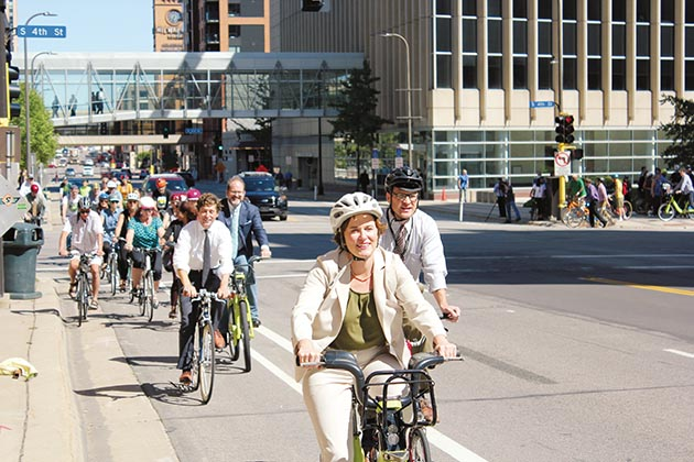 Mayor Betsy Hodges rode at the front of the pack during a 2016 event to celebrate the new 3rd Avenue bicycle lanes. File photo