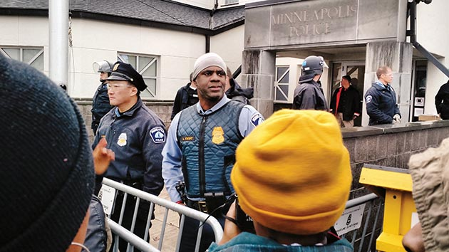Officers on the line during the 18-day Fourth Precinct occupation in 2015. File photo