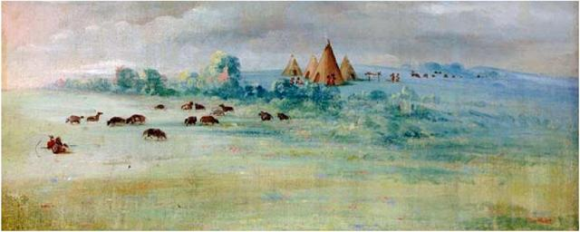 A painting by George Catlin of Cloud Man Village. Minnesota Historical Society image courtesy of Minneapolis Park and Recreation Board