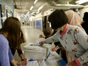 Ramsey Middle School students vote Tuesday on a potential new namesake for the school. Photo by Nate Gotlieb