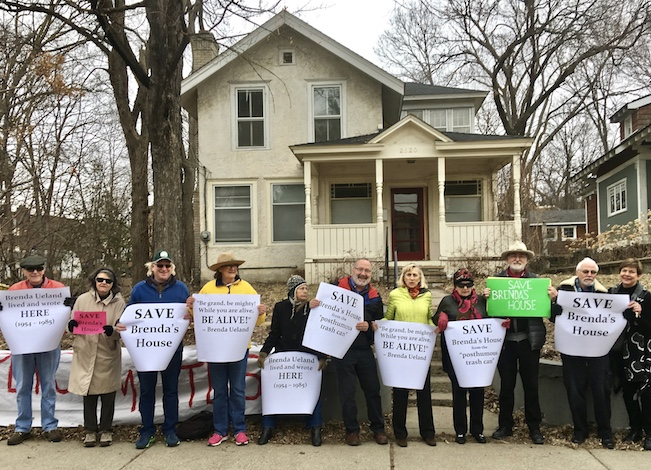 "Linden Hills residents and fans of writer Brenda Ueland staged a ""Read-in"" outside Ueland's house March 19. Photo courtesy of the ""SaveBrenda'sHouse"" campaign"