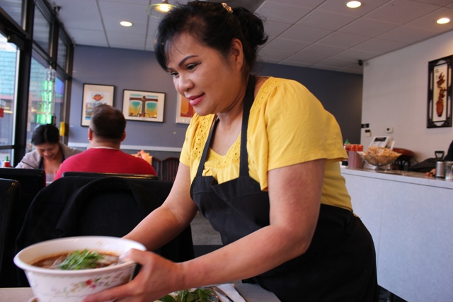 Van Vo, known as Mama Lotus, makes the pho soup at Lotus Restaurant