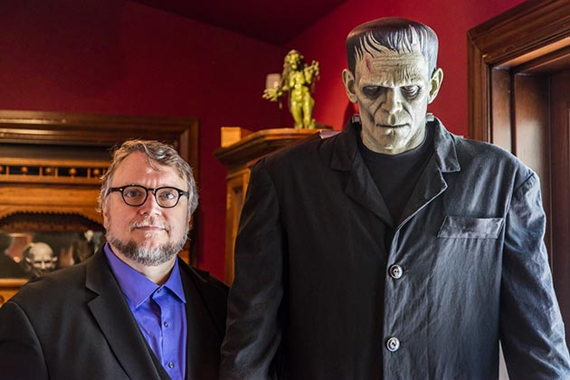Guillermo del Toro and a full-size model of Frankenstein's monster from the movie director's massive personal collection. Submitted photo