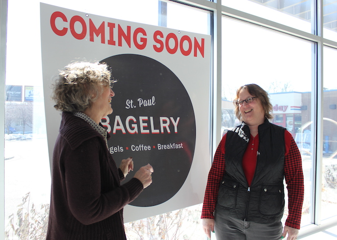 Sisters Peggy Teed (l) and Dodie Green will open St. Paul Bagelry in April.