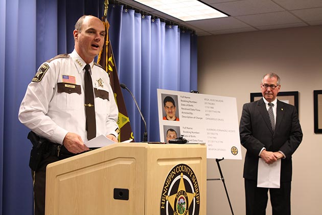 Sheriff Rich Stanek speaking at a press conference Thursday, where he was joined by Hennepin County Attorney Mike Freeman. Photo by Dylan Thomas