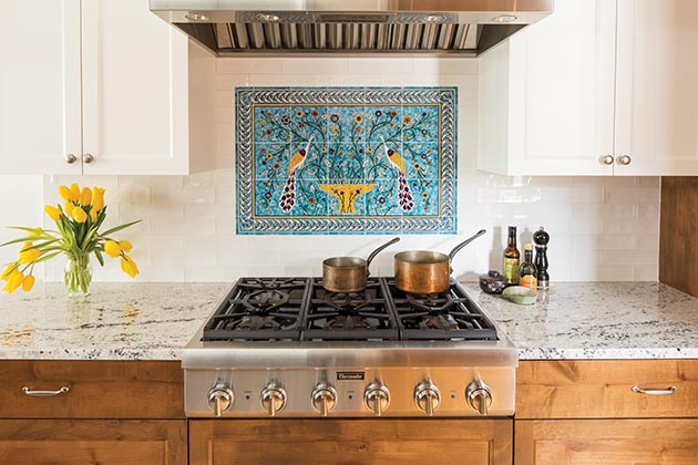 The decorative tile backsplash in Jonathan O'Conner and Eric Schlotterbeck's remodeled kitchen. Submitted photo