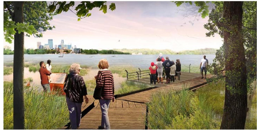 Conceptual graphic of a boardwalk designed to improve water quality at the northwest corner of Calhoun. Photo courtesy of MPRB