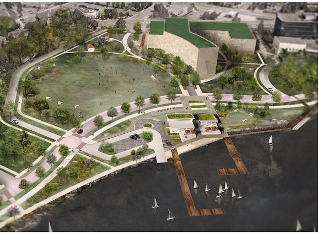 A graphic depiction of potential development opportunities on the northwest side of Lake Calhoun, including a parking ramp with amenities. Image courtesy of Minneapolis Park and Recreation Board