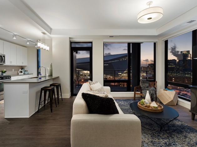 A view of a unit in The Encore, a 122-unit luxury apartment building in the Mill District. Surging interest in Downtown real estate has led more people to pursue renting, realtors say. Photos courtesy Sherman Associates