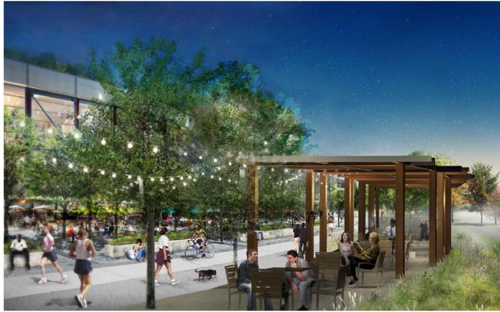 A graphic depiction of Northwest Bde Maka Ska (Lake Calhoun) with flexible open spaces and enhanced connections to West Lake Street. Image courtesy of Minneapolis Park and Recreation Board
