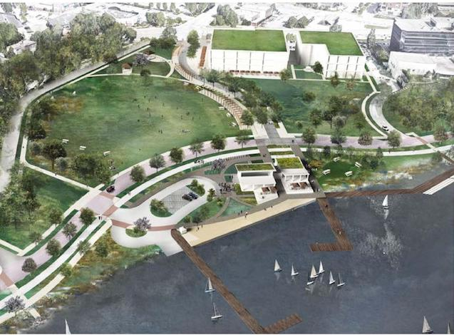 A graphic depiction of potential development opportunities on the northwest side of Bde Maka Ska (Lake Calhoun), including a parking ramp with amenities. Image courtesy of Minneapolis Park and Recreation Board