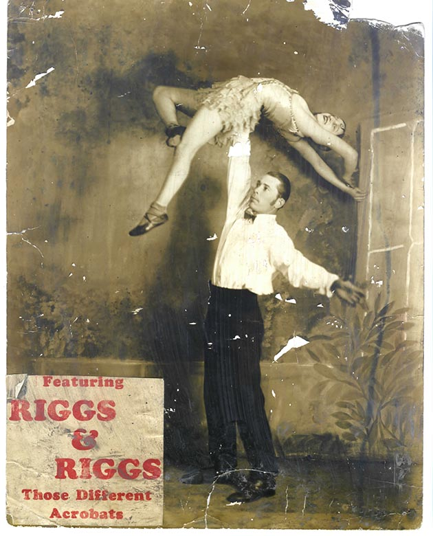 A promotional flyer for Riggs' parents act, recovered from the mud after a tornado destroyed the family home. Photo courtesy Dudley Riggs