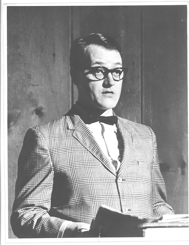 Riggs in 1956 during an Instant Theater Company performance. Photo courtesy Dudley Riggs