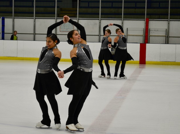 Members of the Braemar Panache figure skating team perform a routine at the April 15 show.