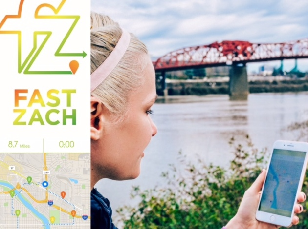 A promotion for FASTZach, a running app by Lynnhurst resident Amanda Brooks.