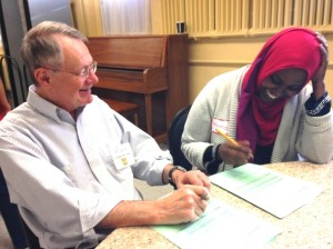 Rich Barbeau with a student at the Ready to Work Job Fair. Submitted photo
