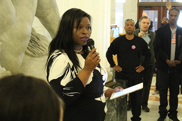 Mayoral candidate Nekima Levy-Pounds delivered a State of the City-style address to a group of about 20 supporters in the City Hall rotunda May 4. Photo by Dylan Thomas