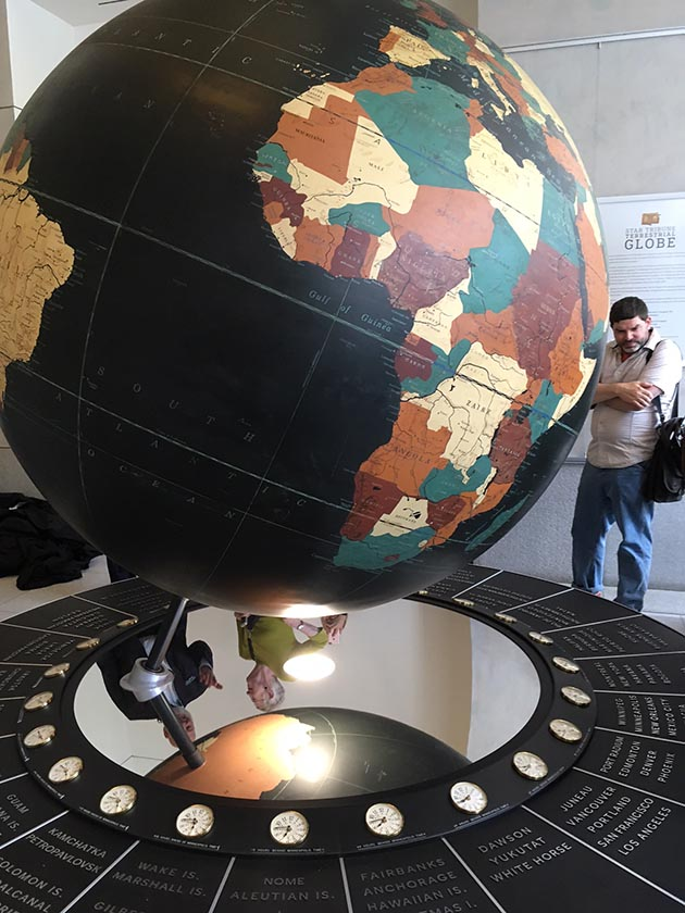 In celebration of the newspaper's 150th anniversary, the Star Tribune installed a 6-foot-tall rotating globe that once welcomed visitors to its Portland Avenue headquarters in the lobby of its new Capella Tower home. Photo by Steve Brandt