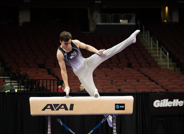 Southwest High School 12th-grader Henry Meeker performs at the Elite Team Cup on March 4 in Newark, N.J. Meeker will join the University of Minnesota men's gymnastics team this fall. Photo by John Cheng/USA Gymnastics