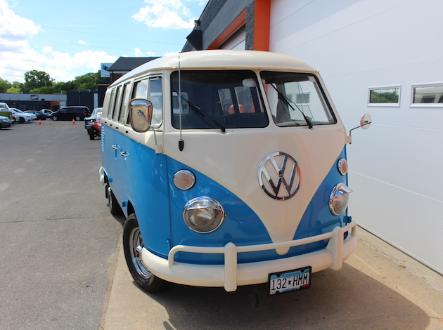A view of an old Volkswagen bus on which Henderson and his team were doing work.