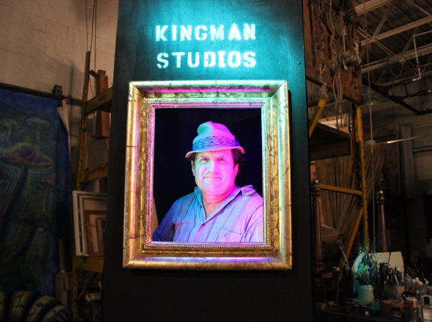 Bryn Mawr artist Brant Kingman at a spot designed for selfies at his studio.