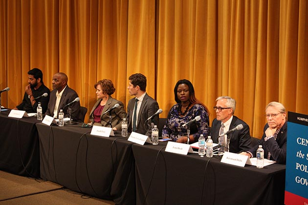 Mayoral candidates at a June 6 forum included, from left to right, Aswar Rahman, Al Flowers, Mayor Betsy Hodges, City Council Member Jacob Frey (Ward 3), Nekima Levy-Pounds, Tom Hoch and state Rep. Raymond Dehn. Photo by Dylan Thomas