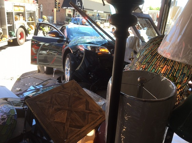 A car crashed into Michael's Lamp Studio on June 6. Submitted photo
