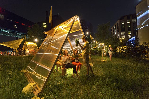 Marina Zurkow with Valentine Cadieux, Aaron Marx, and Sarah Petersen, Making the Best of It: Dandelion, West River Parkway, Northern Spark 2016. Photo: Dusty Hoskovec.