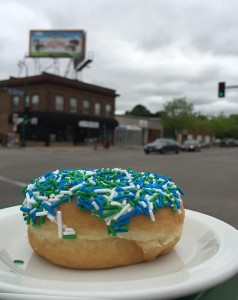 This colorful Tim Hortons doughnut helped brighten the intersection on a recent rainy morning. Photo by Linda Koutsky