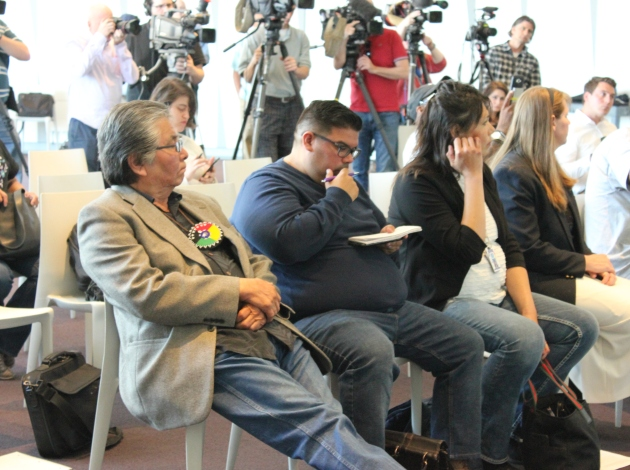 Sheldon Wolfchild (left) and Cheyanne St. John (second from right) at a press conference Wednesday.