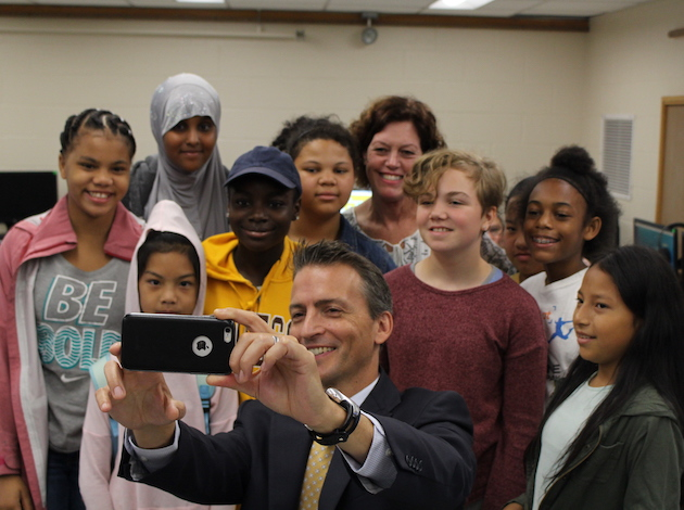 Minneapolis Public Schools Superintendent Ed Graff takes a selfie with students in a summer school class Aug. 3 at Northeast Middle School. Photo by Nate Gotlieb