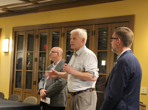 State Rep. Paul Thissen (center) hosted a health care town hall meeting June 30 with state Sen. Scott Dibble (right) and state Rep. Frank Hornstein. Photos by Nate Gotlieb