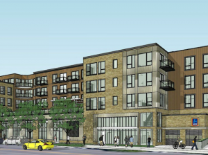 The Rex 26 development at 26th & Lyndale would include 86 apartments and a grocery store on the first floor. Rendering by Master Properties