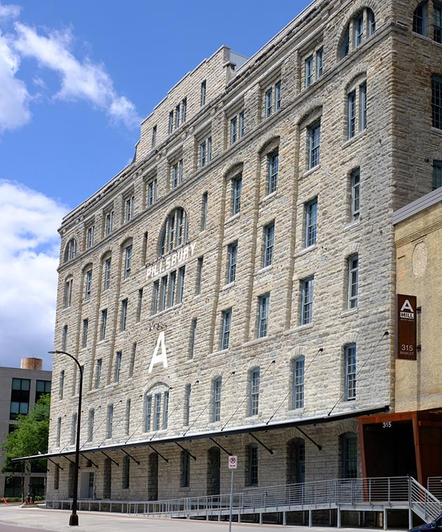 The Pillsbury A Mill is constructed of Plateville limestone. Photo by Linda Koutsky