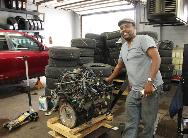 Owner Hassan Samatar at Baraka Auto, located at 510 W. Lake St.