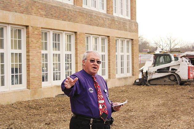 Former Southwest High School Principal Bill Smith pictured outside the school during the April 2015 groundbreaking for a $40-million addition. File photo