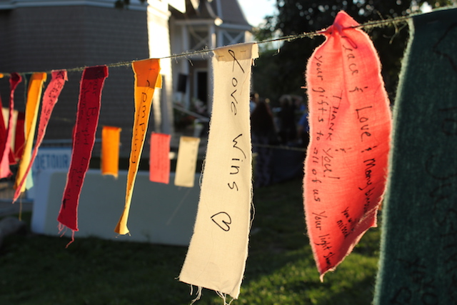 Pieces of fabric with handwritten messages were strung like Tibetan prayer flags. Photo by Dylan Thomas